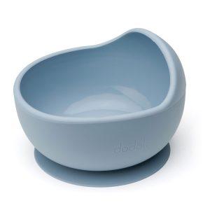 Csúszásmentes szilikon tálka magas peremmel és kanállal, pasztell kék, 300 ml - 1