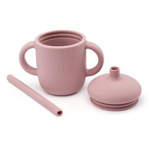 Szilikon bögre csöpögésmentes fedéllel és szívószállal, pasztell rózsaszín, 150 ml - 1
