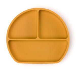 Csúszásmentes szilikon tányér és kanál, mézsárga, 21 x 19 cm - 1