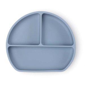 Csúszásmentes szilikon tányér és kanál, pasztell kék, 21 x 19 cm - 1