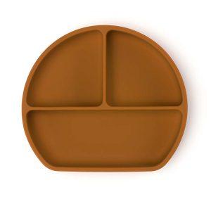 Csúszásmentes szilikon tányér és kanál, rézbarna, 21 x 19 cm - 1