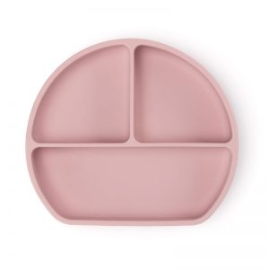 Csúszásmentes szilikon tányér és kanál, pasztell rózsaszín, 21 x 19 cm - 1