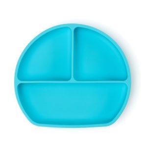 Csúszásmentes szilikon tányér és kanál csecsemők etetéséhez, kék, 21 x 19 cm - 1