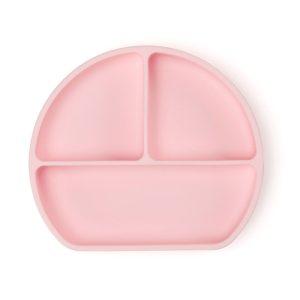 Csúszásmentes szilikon tányér és kanál csecsemők etetéséhez, rózsaszín, 21 x 19 cm - 1