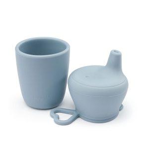 Szilikon csőrös itatópohár babáknak, pasztell kék, 150 ml - 1