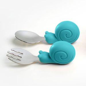 Gyakorló evőeszköz készlet kisgyermekeknek - Csiga, kék, 10 cm - 1