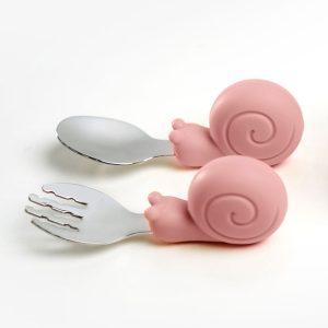 Gyakorló evőeszköz készlet kisgyermekeknek - Csiga, rózsaszín, 10 cm - 1